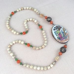 Vtg Hand Painted Asian Marble Statement Necklace